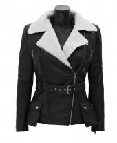 Fur Collar Black Leather Jacket
