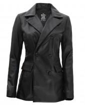 Women Black Leather Coat