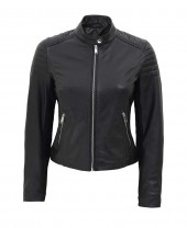 Slim Fit Leather Jacket Black
