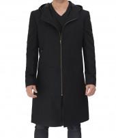 Black Hooded Wool Coat