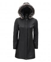 Leather Coat With Fur Trim