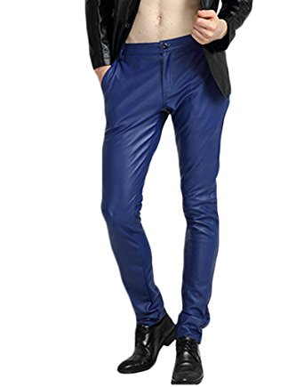 mens leather pants blue