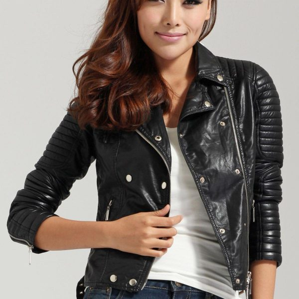 black leather jacket quilted style fashion
