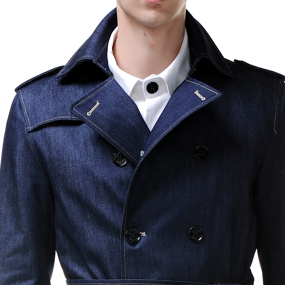 indigo blue denim trench coat