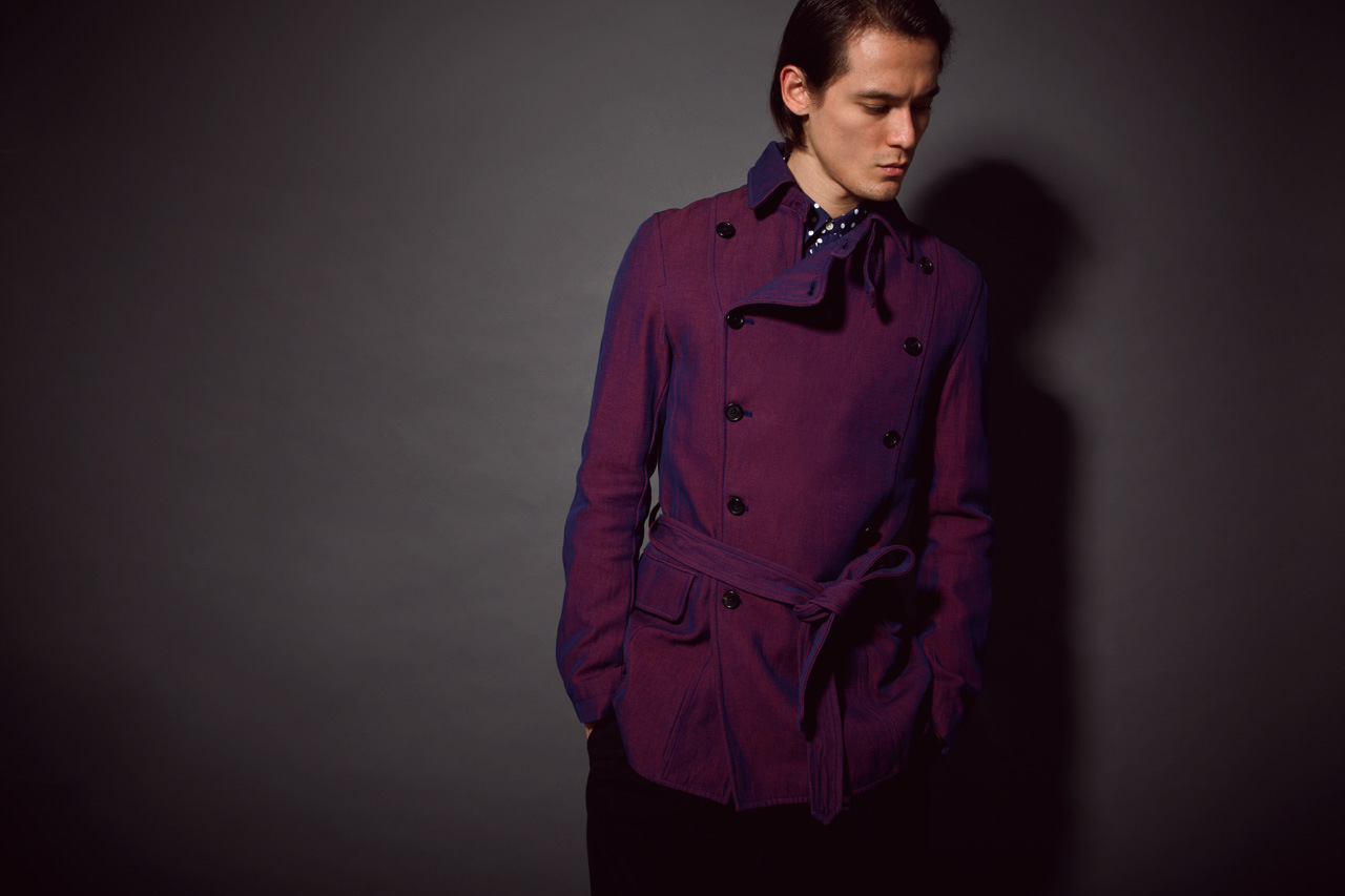 purple mens trench coat