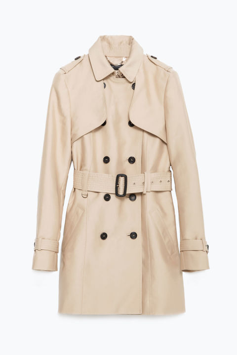 zara double breasted cotton trench coat