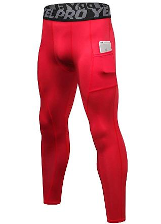 red compression tights for men