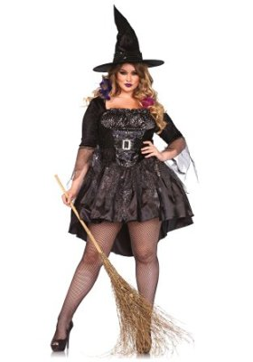 witch with broom cosutme
