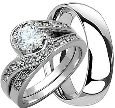 925 Genuine Solid Matching Wedding Ring Set