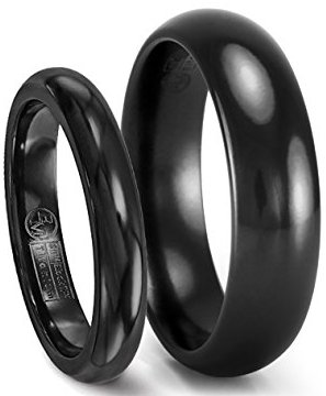 Black Wedding Band Set