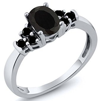 Bllack Diamond Bridal Wedding Ring
