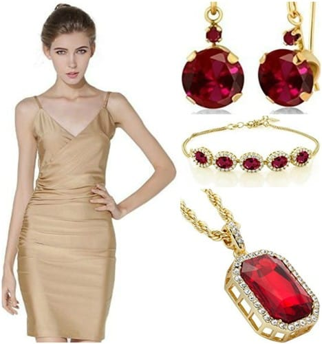 cocktail-dress-camisole-with-ruby-jewelry-set