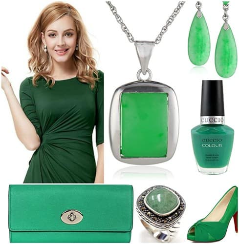 Green Jade Jewelry Set with Matching Outfit