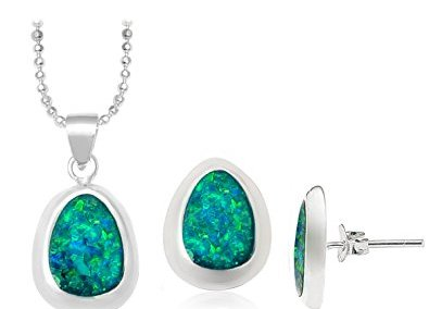 Green Opal Shape Jewelry Set
