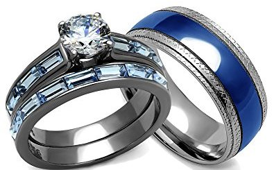 his and hers wedding rings set blue - Blue Wedding Ring Set