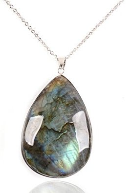 Natural Labradorite Charm Necklace