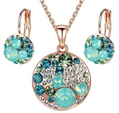 Ocean Bubble Pendant Necklace Earring Jewelry Set
