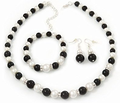Pearl Black and White Bead Necklace, Bracelet and Drop Earrings