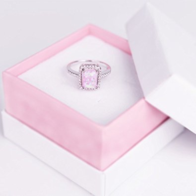 Pink Opal Promise Birthstone Ring