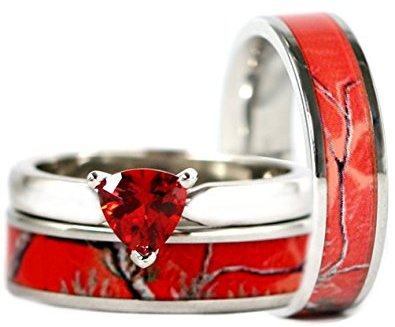 Red ruby Engagement Wedding Ring Set