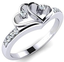 Solitaire Promise Rings For Her in white