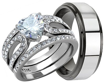 Stainless Steel Heart Wedding Set