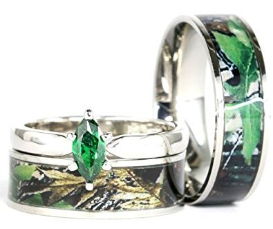 Stainless Steel Sterling Silver Green Wedding Ring Set