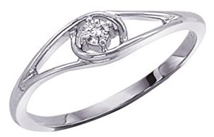 Sterling Silver Single Diamond Promise Ring