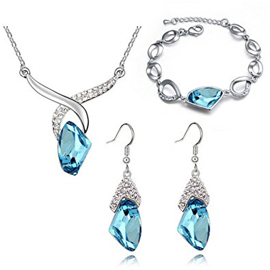 Water Drop Necklace Earrings Set and Bracelet