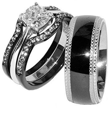Wedding Ring Matching Band Set for Couple