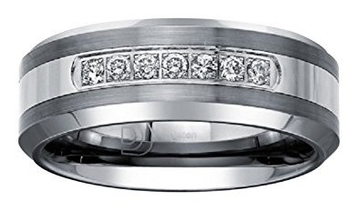 White Diamond Wedding Band for Men
