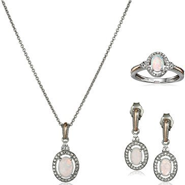 White Opal and Sapphire Earrings, Pendant Necklace and Ring