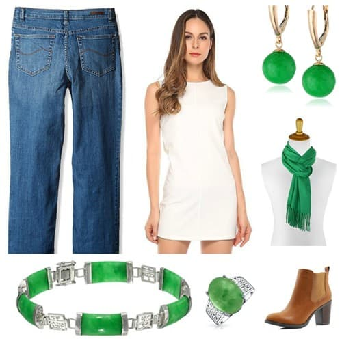 White Sleeveless Dress Matchin Jade Accessories