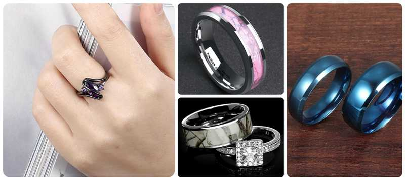 colorful wedding band sets