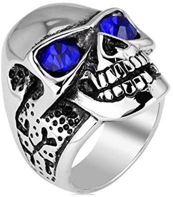 cross skull biker ring blue glasses - Biker Wedding Rings