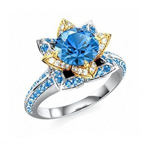 disney princess blue white accents ring - Disney Princess Wedding Rings