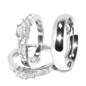 His Hers 3 Pcs Stainless Steel Ring
