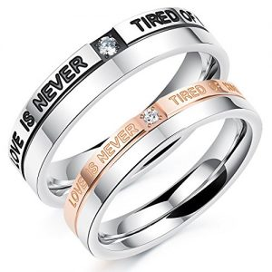 Mens Womens Stainless Steel CZ Promise Ring