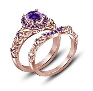 purple amethyst disney princess ring set - Disney Wedding Rings