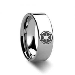 sith imperial emblem star engraved ring jewelery - Star Wars Wedding Ring