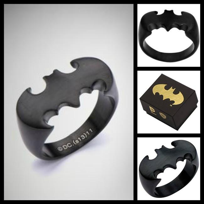 Stainless Steel Black Batman Ring women