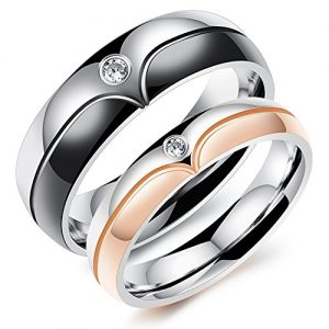 Stainless Steel CZ Rings for Couple
