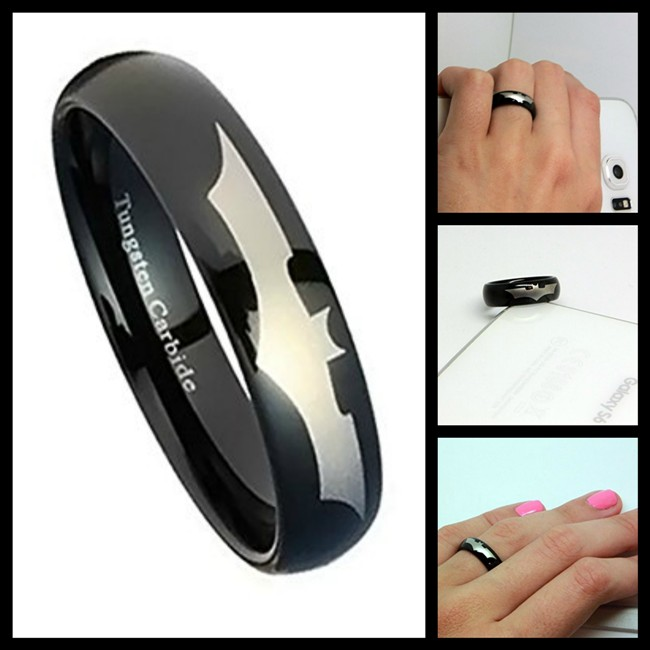 Tungsten Black Batman Ring for Women