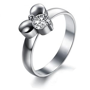 womens stainless steel cz mickey mouse ring - Mickey Mouse Wedding Ring