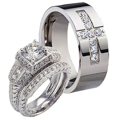 Zirconia Titanium Cross Wedding Band for Him and Her