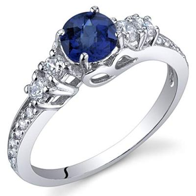created blue silver sapphire ring