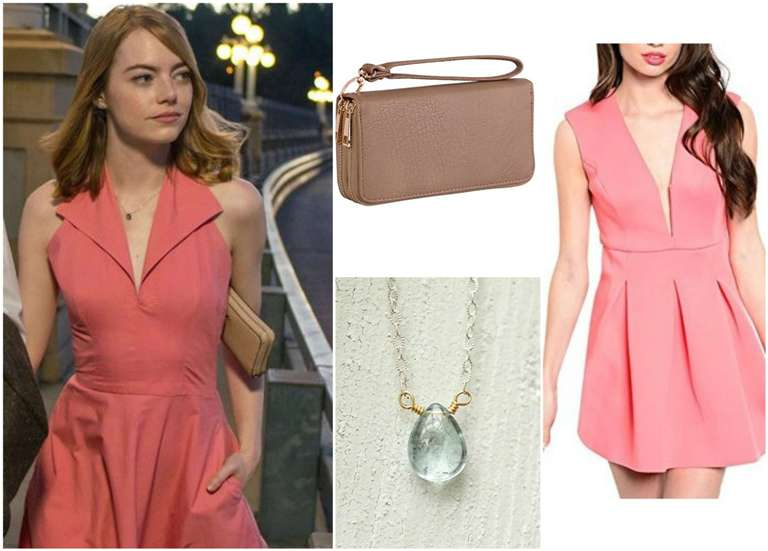Lala Land Emma Stone Coral Dress