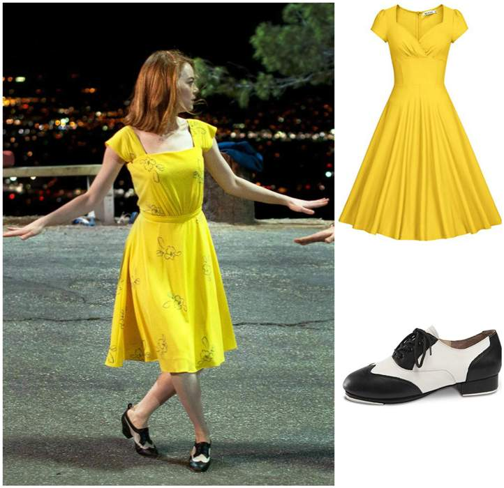 MIA Yellow Swing Dress Neck Floral with Dance Shoes