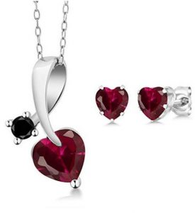 Heart Shape Red Ruby with Black Diamond