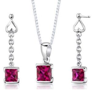 Necklace Sterling Silver and Ruby Earrings